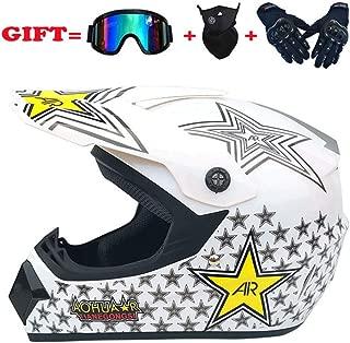 WT Motocross Helmets, Adult Off-Road Helmet Kits/Off-Road Helmets with Goggles/Gloves/Masks, Motorcycle Off-Road Crash Helmet Protective Gear