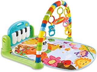 Baby Play Mat Activity Gym, Baby Crawling Game Pad with Piano Music Pedal and Fitness Rack with Hanging Toys, Lay to Sit-U...