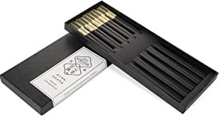 Tombert 5-Pairs Fiberglass Chopsticks - Reusable Dishwasher-safe Chopsticks with Gift Case for Household & Restaurant (Topaz Leaf)