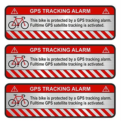 Finest-Folia 3X GPS Aufkleber Fahrrad Motorrad Auto Alarm Warnung Anti Diebstahl Sticker Tracker gesichert R055 (Aluminium Schliff Silber, Fahrrad)