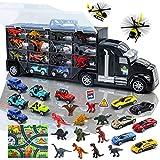 Dinosaurios Coches Camions Grandes de Juguete Transportador con 12 Dinosaurios Juguetes + 12 Coches de Juguetes + 2 Avión + Tapete Infantil Juegos Educativos Regalos para niños niñas 3 4 5 6 años