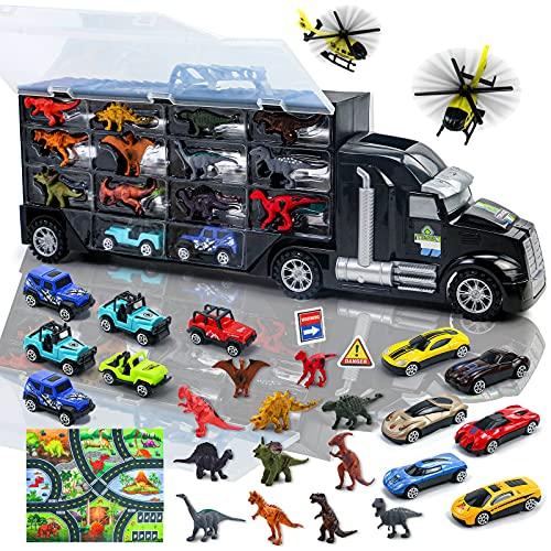 Camion Macchinine Giocattolo per Bambini con 12 Dinosauri Giocattolo + 2 Aereo + 12 Auto + 1 Tappetino da Gioco...