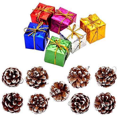 yeemeen 15PCS Addobbi e Decorazioni Natalizie Set Palline di Natale Bianco Pigne Natalizie con Stringa Colorato Contenitore di Regalo Natale Decorazioni Casa per la Decorazione dell'albero di Natale
