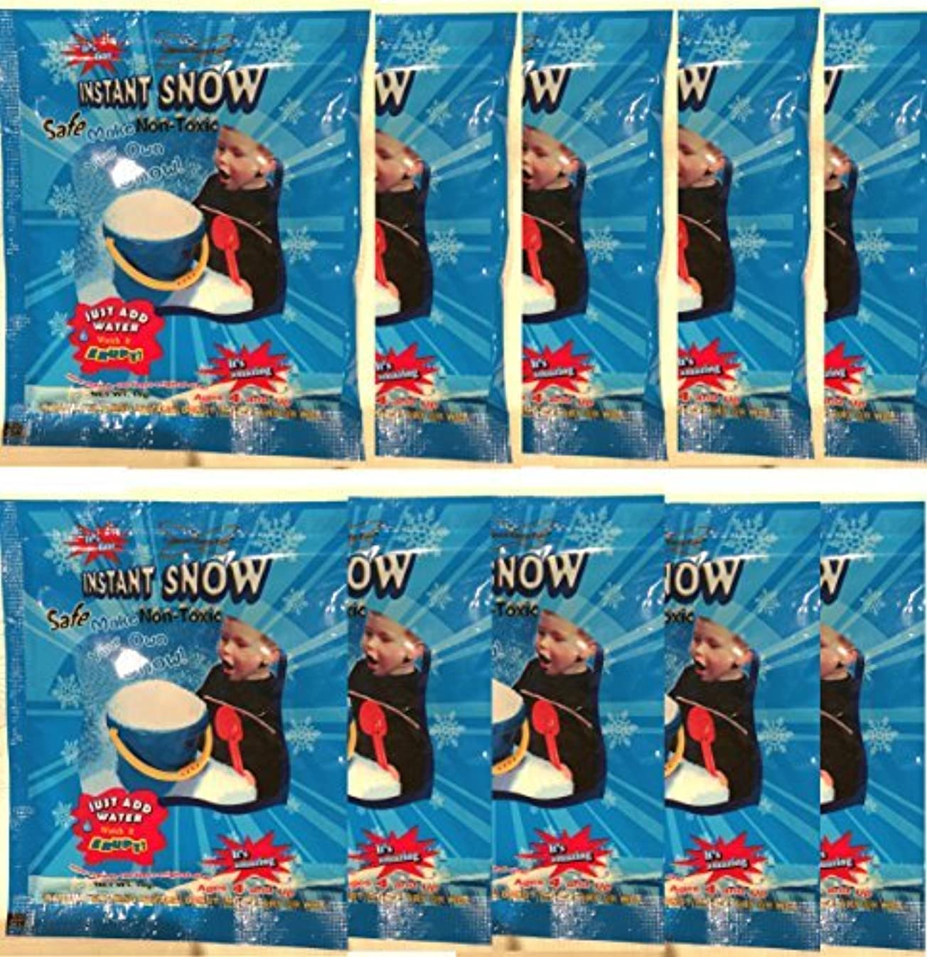 10 Pack - Instant Snow (Tm) Powder, Will Make About 40 Cups of Fluffy Instantly Snow. Model: