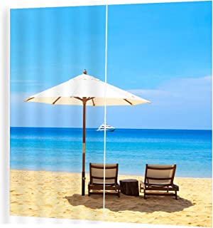 Beach Umbrella Pattern Modern Design Curtain for Home Kitchen Living Room Bedroom Curtain for Window Decoration