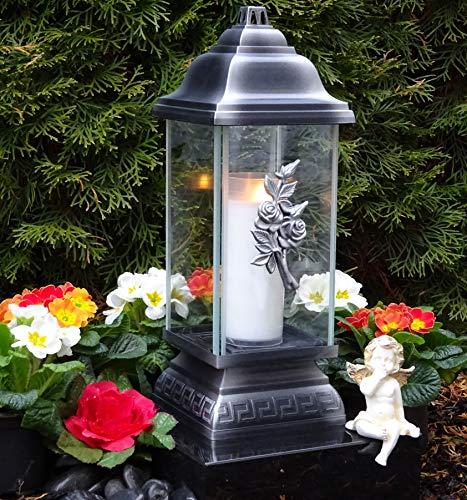 ♥ Grablampe Rosen Ewige Liebe mit Grablicht 34,0cm Grabschmuck Grablaterne Grableuchte Kerze Grablicht Grabkerze Laterne Lampe Licht Schutzengel