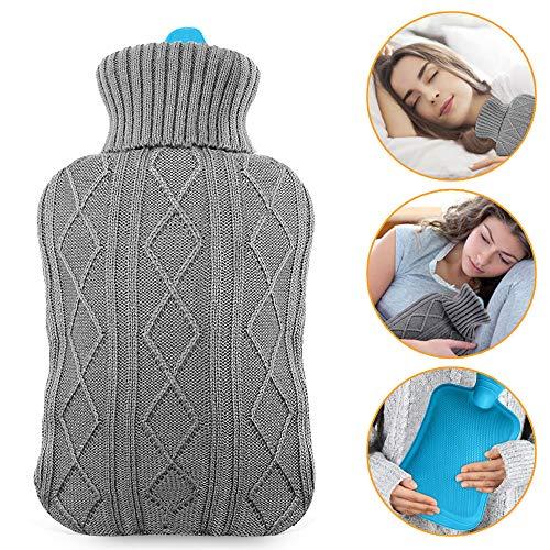Mture Wärmflasche, wärmeflaschen mit Strickbezug Rollkragen Wärmekissen, Sicher und langlebig Geprüft Und Frei Von Schadstoffen Waermflasche mit bezug für lindert Schmerz, Bauchschmerzen,2L (Grau)