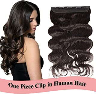 Clip in Human Hair Extensions 22 inch Off Black #1B One Piece 5 Clips Body Wave Thick Soft Human Hair 3/4 Full Head Double Thread Weft (22