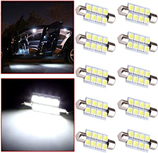 OCPTY Extremely Bright 39mm Festoon White Light for 6411 6418 C5W DE3423 6413 DE3425 Car Interior Dome License Plate Door Lights Pack of 10