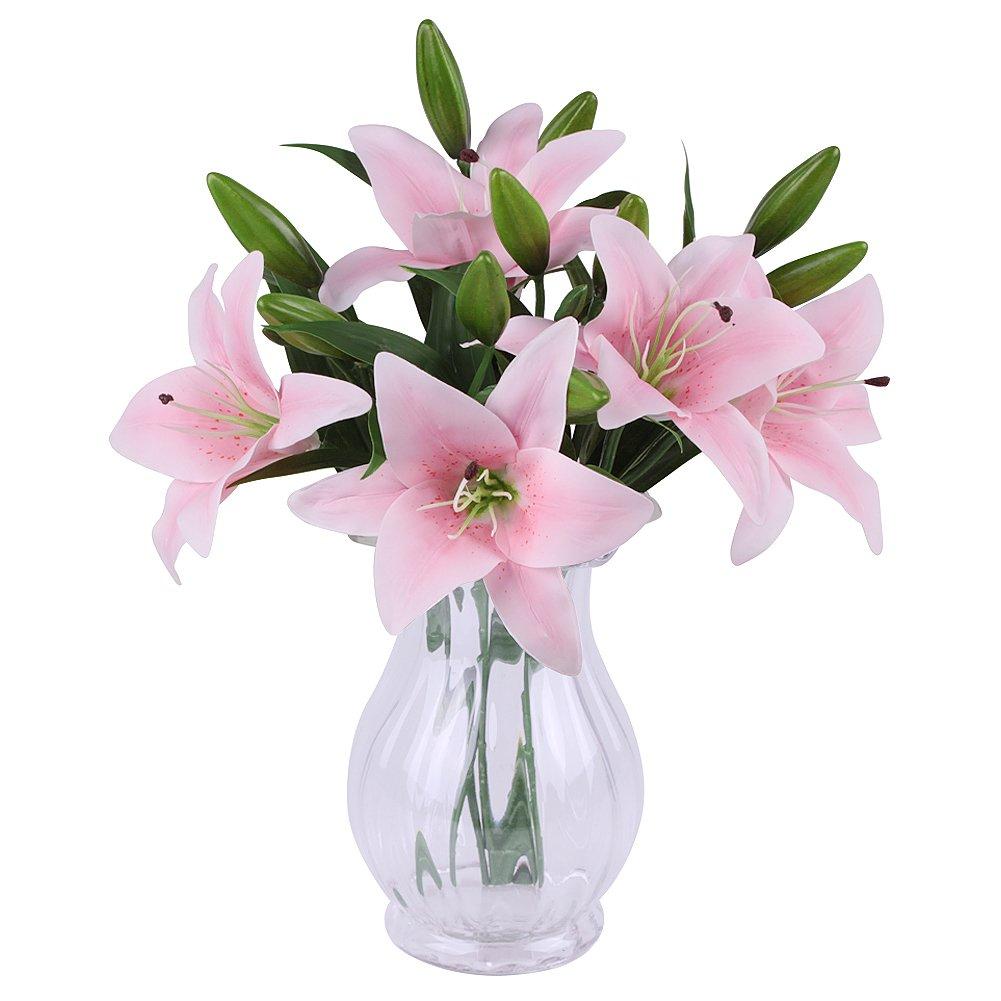 225 & Pink Artificial Flowers in Vase: Amazon.co.uk