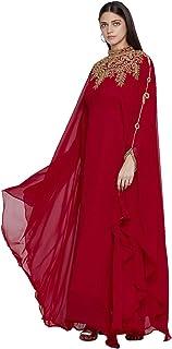 فستان قفطان دبي للنساء بتصميم فراشة طويل مكسي باكمام طويلة للسهرات مع وشاح مجاني
