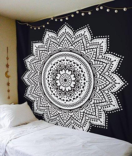 Exclusivo tapiz Raajsee con diseño de mándala, color blanco con negro, algodón, negro, 220*240cms