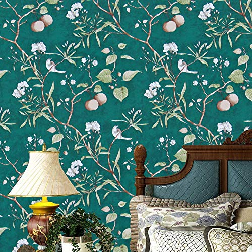 """Green Floral Peel and Stick Wallpaper Modern Wallpaper, 17.7"""" x 78.7"""" Peach Tree Removable Wallpaper Peel and Stick Flower Bird Waterproof Natural Self Adhesive Wall Paper Vinyl Film Wall Covering"""