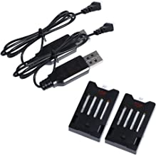 Holy Stone Modular 2 × 3.7V 600mAh Lipo Battery and 2 × USB Charging Cables for RC Quadcopter Drone HS150
