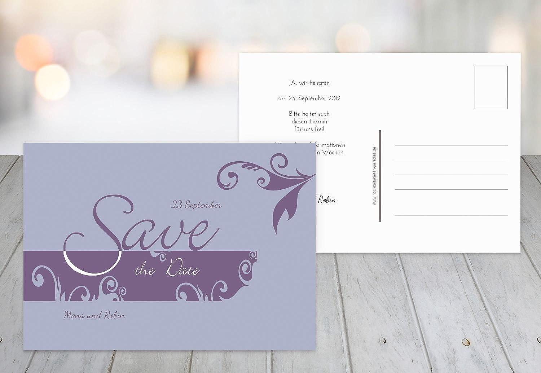 Kartenparadies Hochzeitskarte Save-The-Date Squiggle Square, Hochwertige Save The Date Karte zur Hochzeit   60 Karten - (Format  148x105 mm) Farbe  LilaFlieder B01NBWK7XU | Grüne, neue Technologie