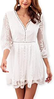 Women's Cute Lace Embroidery 3/4 Sleeve Dress Deep V Neck Hollow Mini Party Dresses