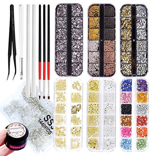 9300 Pcs Nail Art Studs Rhinestone Kit,Nails Art Metal Charms Caviar Beads Nail Supplies with Rhinestone Glue,Nail Jewels Decals Decorations Accessories