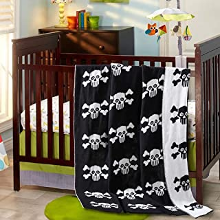 Brandream Throw Blanket Baby Crib Blankets Black and White Designer Pirate Blankets Scull Pattern Decorative Soft Blanket ...