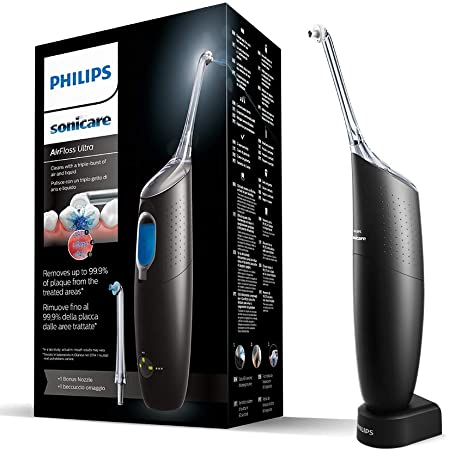 Philips Sonicare AirFloss Ultra Power Flosser, 2020 Edition, Interdental Cleaner for Removing Plaque- Black - HX8438/03
