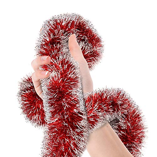 Treasures Gifted Christmas Red Frost Tip Tinsel Garland Christmas Tree Metallic Streamers Celebrate a Holiday Happy New Year Party Ceiling Hanging Decorations Indoor and Outdoor Disco Party Supplies