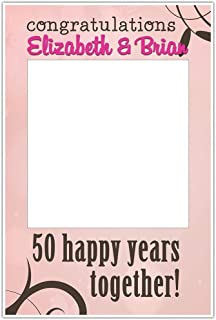 Floral Frame Wedding Anniversary Selfie Frame Photo Booth Prop Poster