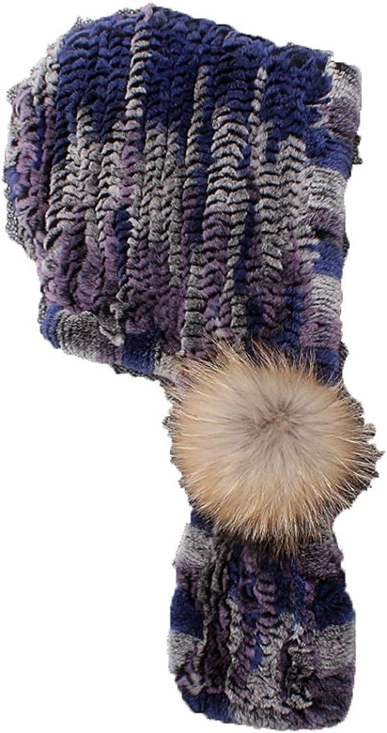 Befur Criss Cross Real Fur Scarf with Hood & Raccoon Ball Pom Pom in Multicolor