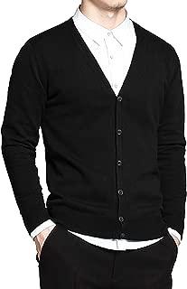 JINIDU Men's Long Sleeve Shawl Collar Cardigan Sweater Slim Fit Casual Button Down Knitted Cardigan