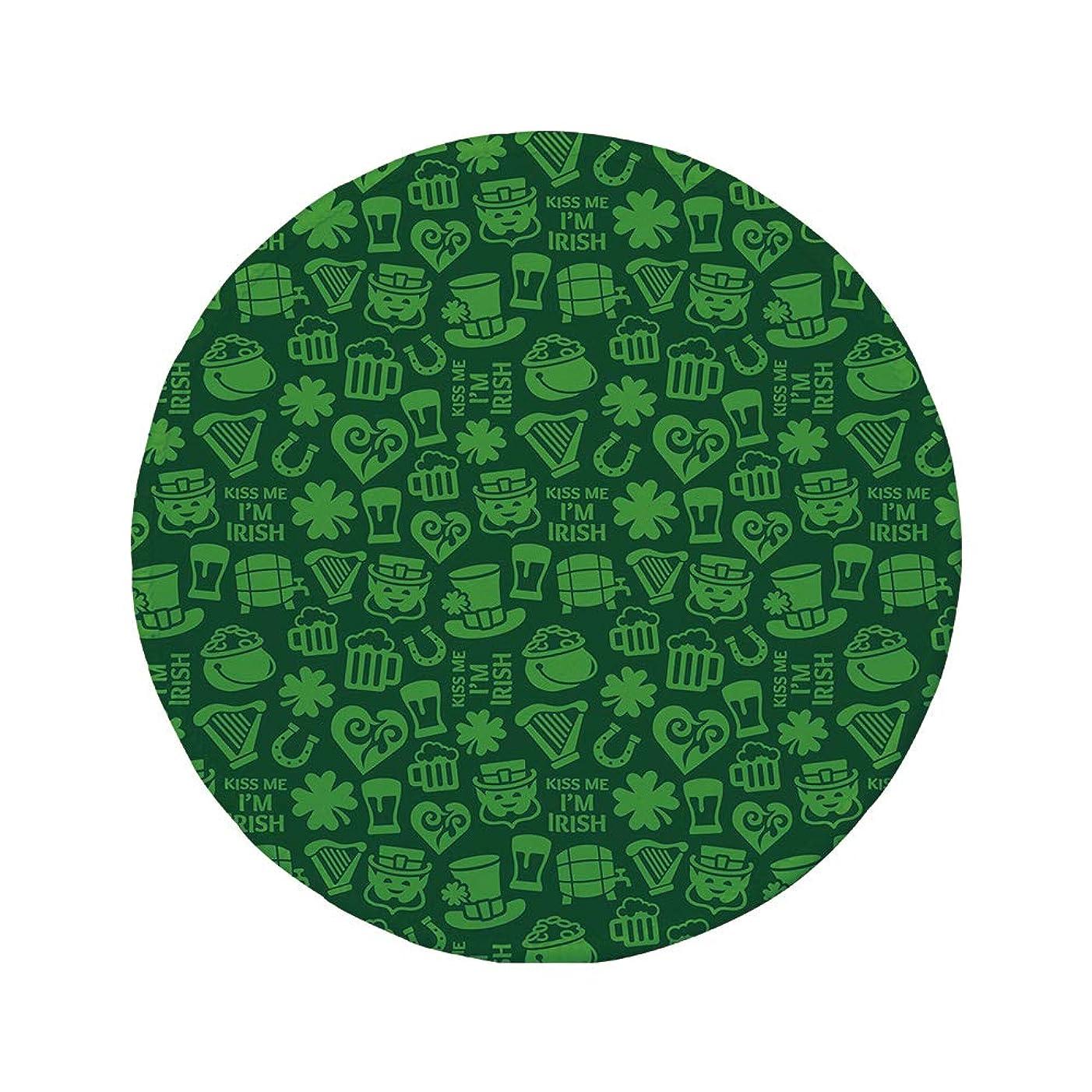 Non-Slip Rubber Round Mouse Pad,Irish,Kiss Me Im Irish Humorous Phrase with Ale Shamrocks Hats Traditional Symbols Decorative,Green Lime Green,7.87