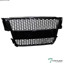 Topline Autopart Black RS-Honeycomb Mesh Front Hood Bumper Grill Grille ABS For ABS 08-12 Audi A5 / S5 B8 / 8T