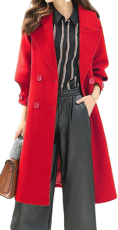 Pivaconis Women's Fall Winter Double Breasted Lapel Woolen Pea Coat Outwear