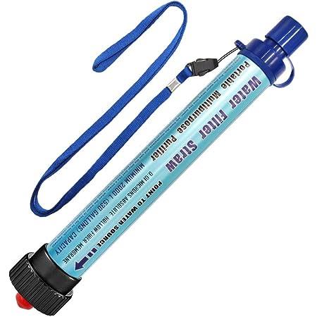 DeFe Filtre Eau Personnel 2000L Système de Filtration d'eau Élimine 99,9% des Bactéries Filtre à 0,01 Microns Paille Eau Potable pour Randonnée Voyage Backpacking Camping Survi (Bleu 1 Pack)