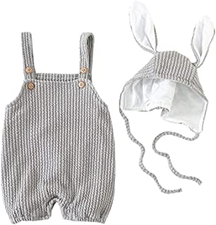 Fairy Baby 2PC Toddlers Baby Girls Easter Outfit Clothes Set Knit Bib Romper+Bunny Ears Cap