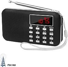 LEFON Mini Digital AM FM Radio Media Speaker MP3 Music Player Support TF Card/USB Disk with LED Screen Display and Emergency Flashlight Function (Black-Upgraded Version)