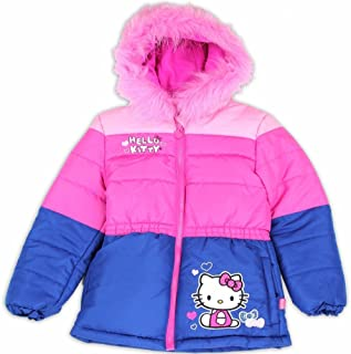 fee2b09a0 Hello Kitty Toddler Girl's Pink/Blue Fur Like Lined Puffer Hooded Winter  Jacket