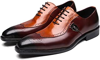 Mens Genuine Leather Dress Shoes Oxfords Formal Wedding Lace up Italian Leather Shoes for Men