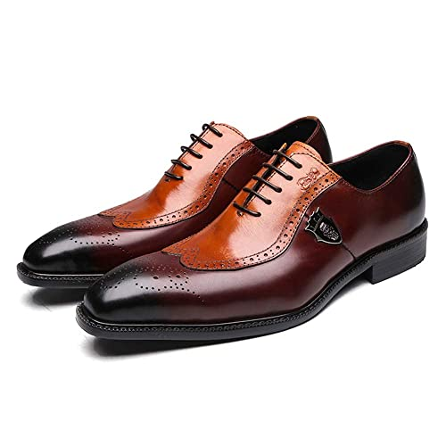 FELIX CHU Genuine Leather Mens Dress Shoes Brown Oxfords,Handmade Leather Lace up Formal Wing