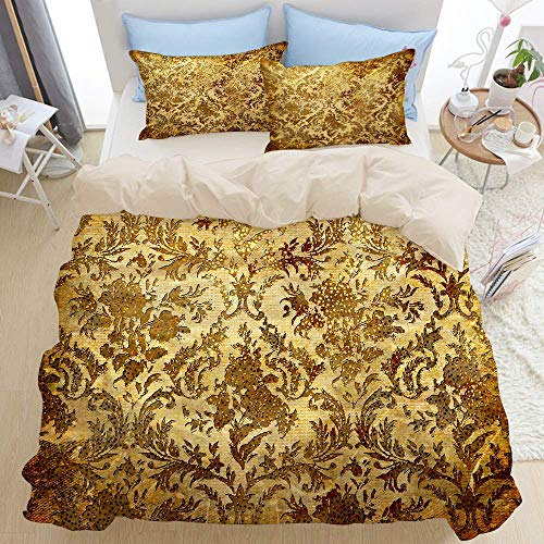 Juego de ropa de cama de 3 piezas, beige dorado vintage con motivos dorados, chatarra rústica de color marrón óxido, juego de edredón moderno de lujo con cremallera con 2 fundas de almohada Juego de f