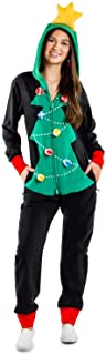 Women's Cozy Christmas Tree Toss Game Jumpsuit - Funny...