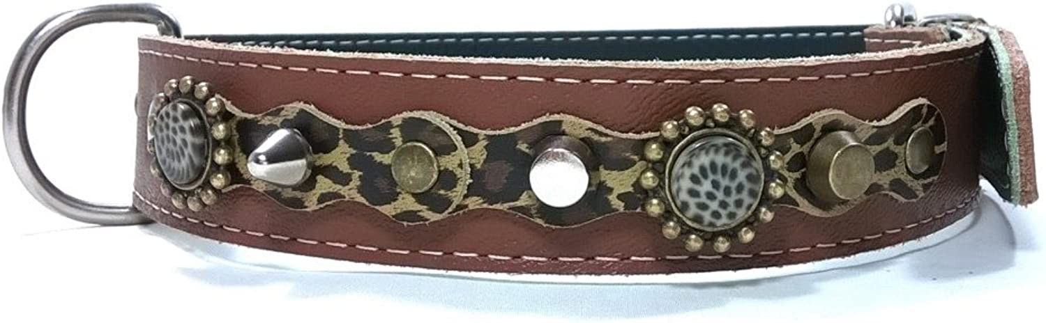 Original Leather Large Dog Collar Design with Optional Lead Set, Leopard Leather Camouflage Stones and Cool Spikes