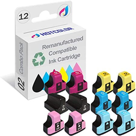 HOTCOLOR Remanufactured hp02 Ink Cartridge Replacement for HP 02 printer ink cartridges Work for HP PhotoSmart C6280 C7280 8250 D7460 C8180 C6250 Printer (Black, Cyan, Magenta, Yellow, Light Cyan, Light Magenta, 12-Pack)