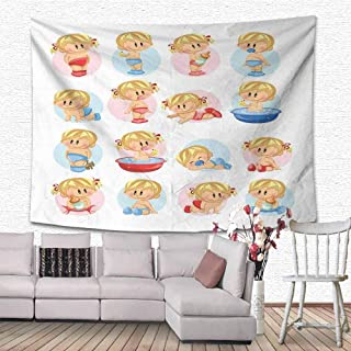 AKLSNTAJNFK Baby Tapestries Cute Boys and Girls in Various Situations Bathing Sleeping Crawling Drinking Milk for Living Room Bedroom Multicolor 47