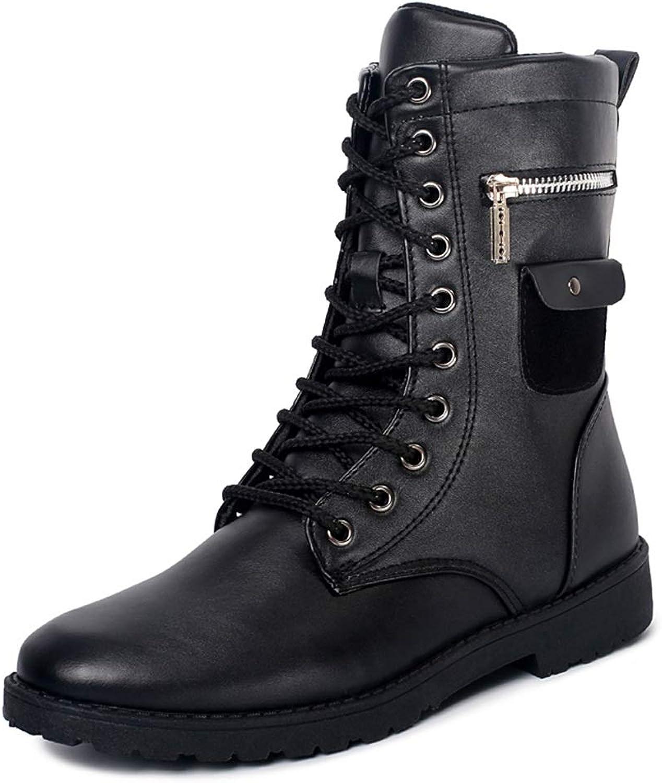 Mid-Calf Stiefel der Männer beiläufige Neue Art-hohe Oberseite Oberseite Oberseite warme Samt-Reißverschluss-Outsole-Stiefel,Grille Schuhe (Farbe   Schwarz, Größe   44 EU)  fdad56