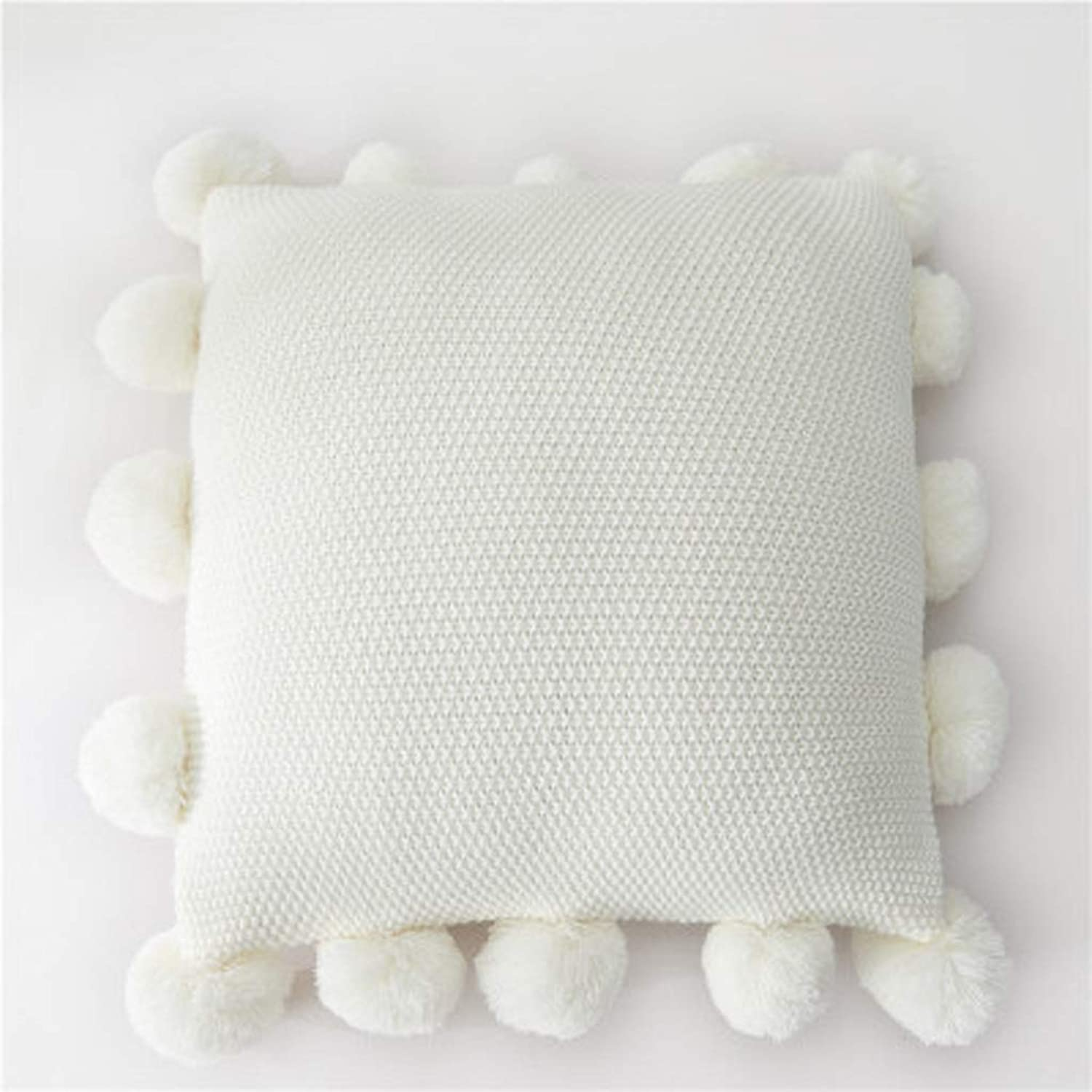 Pillow Solid color Ball Big Pillow Wool Home Sofa Cushion Cover Durable and Comfortable QYSZYG (color   White)