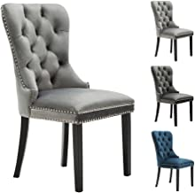 Kmax Elegant Upholstered Fabric Dining Chairs, Light Grey Armless Accent Chair Set of 2, Retro Velvet Chairs