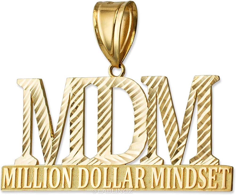 LA BLINGZ MDM Million Dollar Mindset 10K Yellow Gold Large DC Pendant