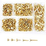 Mini Brads – 500-Pieces Scrapbooking Brads, Paper Fasteners, Steel Brad Fasteners, Gold, 5 Assorted Sizes