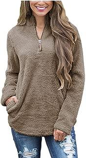 Women's Casual Sherpa Fleece Pullover 1/4 Zipper Long Sleeve Collar Outwear Jacket Coat
