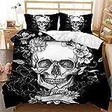 JXING Juego de ropa de cama Sugar Skull Funda de edredón 3D con diseño de calavera microfibra, Halloween, diseño gótico de Skullon Decoración(A5,135x200cm)