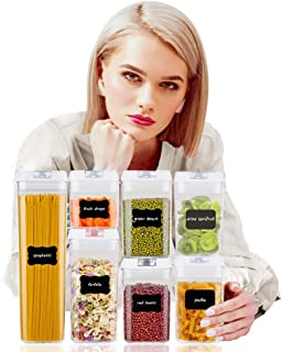 GEBER Airtight Food Storage Containers 7 Pieces Sets, BPA Free Plastic Clear Cereal Containers with Easy Lock Lids, for Kitchen Pantry Organization and Storage, Include 10 Labels & Marker