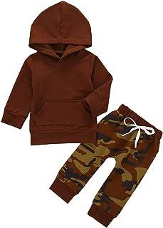 Ropa para Niño Casual Conjunto de Otoño Invierno de Niño Estampado Camflaje Camiseta Color Liso Mangas Largas con Pantalon...